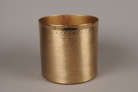 A023E5 Gold metal planter brushed brass look D20cm H19.5cm