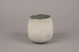 A023G2 Grey glass candle jar D13cm H13cm