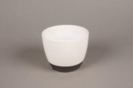 A023HX Cache-pot en céramique blanc D12cm H10cm