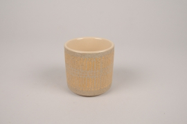 A023I4 Cache-pot en céramique taupe D7.5cm H7.5cm