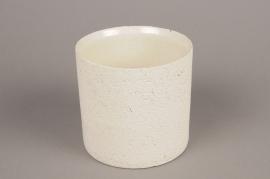A023N8 Cache-pot en terre cuite beige D12cm H13cm