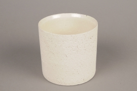 A023N8 White terracotta planter D12cm H13cm