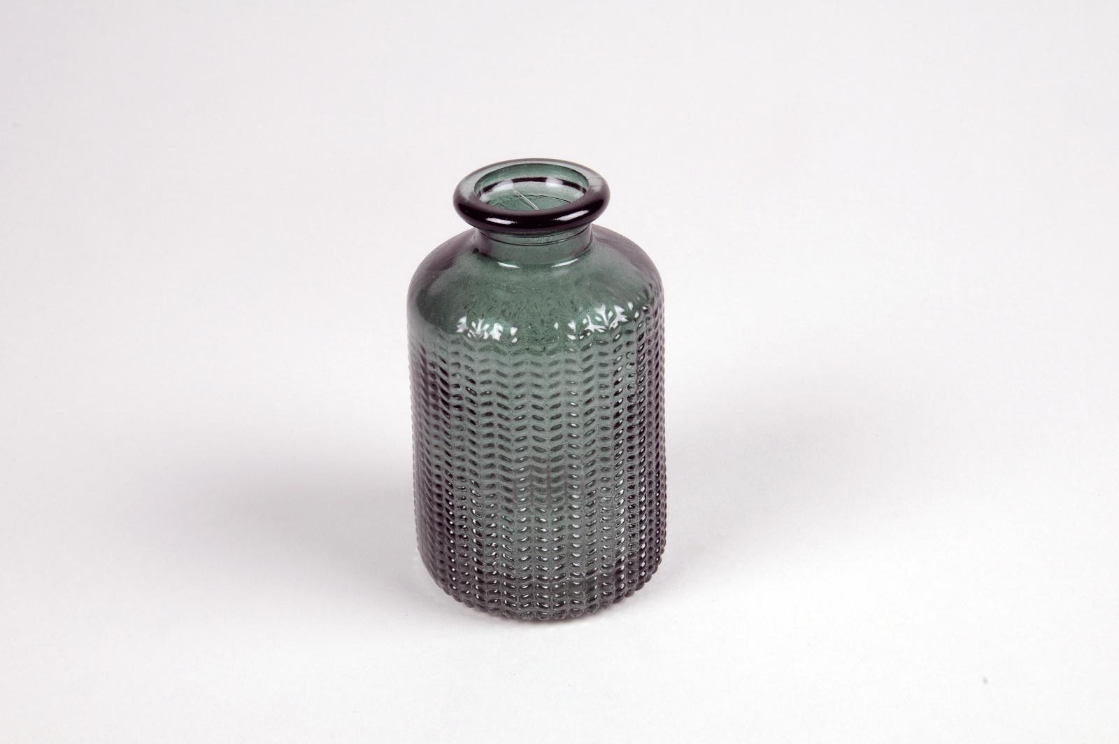 A023NH Vase bouteille en verre vert D6cm H10cm
