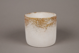A023OZ Cache-pot en céramique blanc D17cm H15.5cm