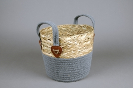 A023U7 Wicker and cotton basket D22cm H21cm