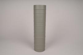A023U9 Vase cylindre en métal vert kaki D10cm H40cm