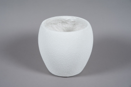 A023W7 White resin planter D32cm H30cm