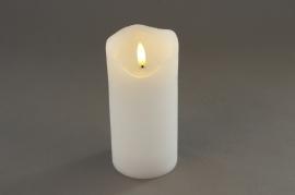 A024A1 White pilar wax candle LED D7.5cm H15cm