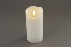 A024A1 White pilar wax candle LED D7.5cm H15cm