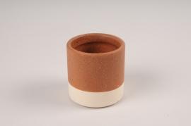 A024BJ Cache-pot en céramique marron D7cm H7cm