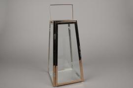 A024BL Pink gold metal lantern 17cm x 17cm H34cm