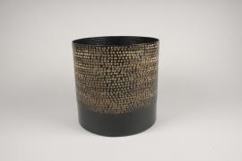 A024E5 Cache-pot en métal noir D25.5cm H25cm