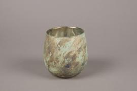 A024G2 oxidized bronze glass candle jar D13cm H13cm