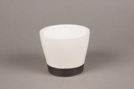 A024HX Cache-pot céramique blanc D12cm H10cm