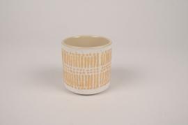 A024I4 Cache-pot en céramique crème D7.5cm H7cm
