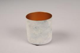A024JY Cache-pot en métal blanc D6.5cm H7cm