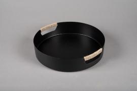 A024KU Black metal tray D30.5cm