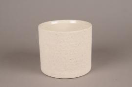 A024N8 Cache-pot en terre cuite beige D16.5cm H14.5cm