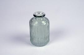 A024NH Vase en verre bouteille vert D6cm H10cm