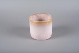 A024OZ Pink ceramic planter D17cm H15.5cm
