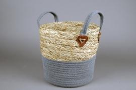 A024U7 Wicker and cotton basket D26cm H28cm