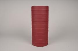 A024U9 Vase cylindre en métal rouge D15cm H35cm