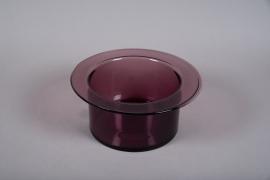 A024W3 Vase en verre rose D34cm H15cm