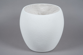 A024W7 White resin planter D45cm H42cm