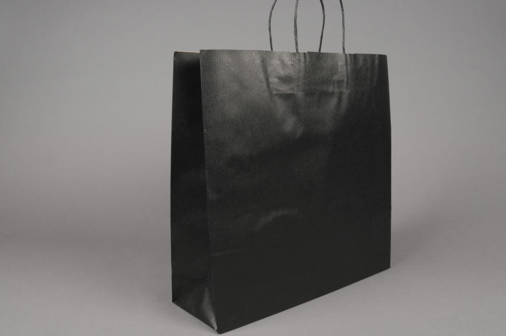 A025AS Bag of 25 black kraft bags 36x12cm H41cm