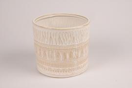 A025BJ Cache-pot en céramique blanc D19.5cm H19.5cm