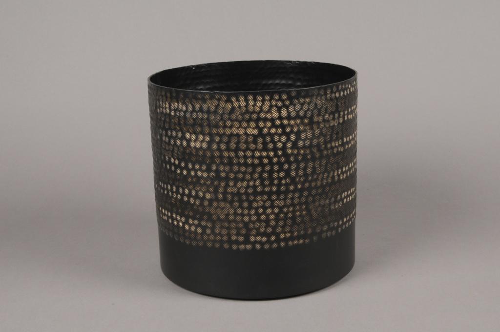 A025E5 Cache-pot en métal noir D20cm H19.5cm