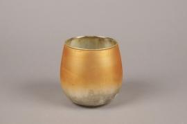 A025G2 Gold glass candle jar D13cm H13cm