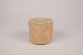 A025I4 Cache-pot en céramique taupe D11cm H10cm