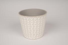 A025J6 Cache-pot en céramique blanc avec motifs D16.5cm H15.5cm