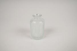 A025NH Vase en verre bouteille transparent D6cm H10cm