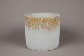 A025OZ Cache-pot en céramique gris D22cm H20cm