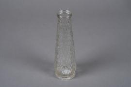 A025R4 Vase en verre motif losange D6.5cm H22cm