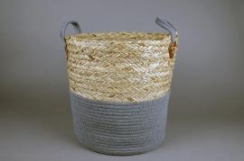 A025U7 Wicker and cotton basket D35cm H36cm