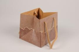 A025VB Pack of 5 brown bags 12x12cm