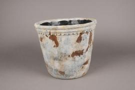 A025W6 Cache-pot en terre cuite vieilli D29cm H26cm