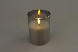 A026A1 Photophore en verre fumé LED D7.5cm H10cm