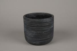 A026AC Cache-pot en béton strié gris anthracite D18cm H16cm