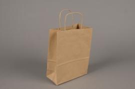 A026AS Bag of 25  natural kraft bags 16x8cm H21cm