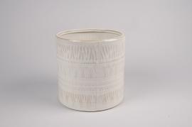 A026BJ Cache-pot en céramique blanc D17cm H15cm