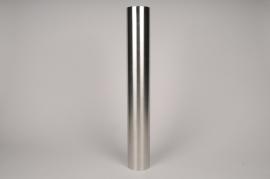 A026E0 Bougeoir cylindre métal argent D7.5cm H55cm