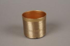 A026E5 Cache-pot en métal effet laiton brossé D9cm H8cm