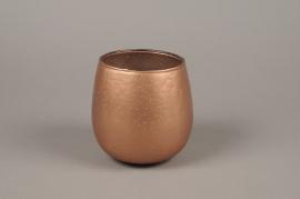 A026G2 Photophore en verre cuivre D13cm H13cm