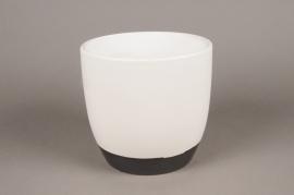 A026HX Cache-pot en céramique blanc D19cm H18cm