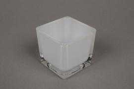 A026I0 Glass cube vase white 6x6cm H6cm