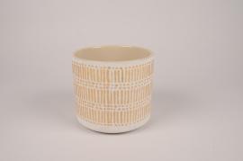 A026I4 Cache-pot en céramique crème D13.5cm H13cm